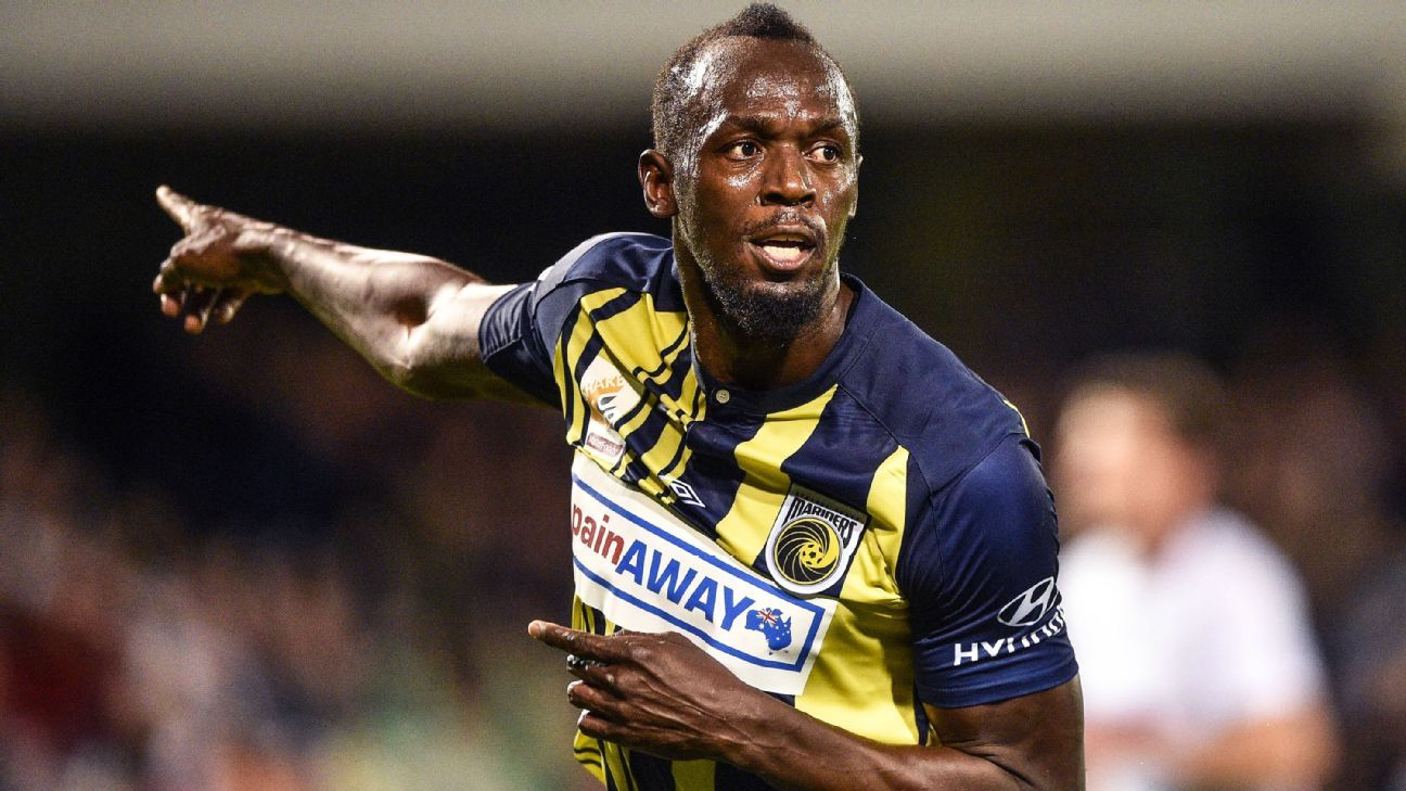 Olympic sprinter Usain Bolt celebrates scoring a goal for A-League football club Central Coast Mariners in his first competitive start for the club against Macarthur South West United in Sydney on October 12, 2018