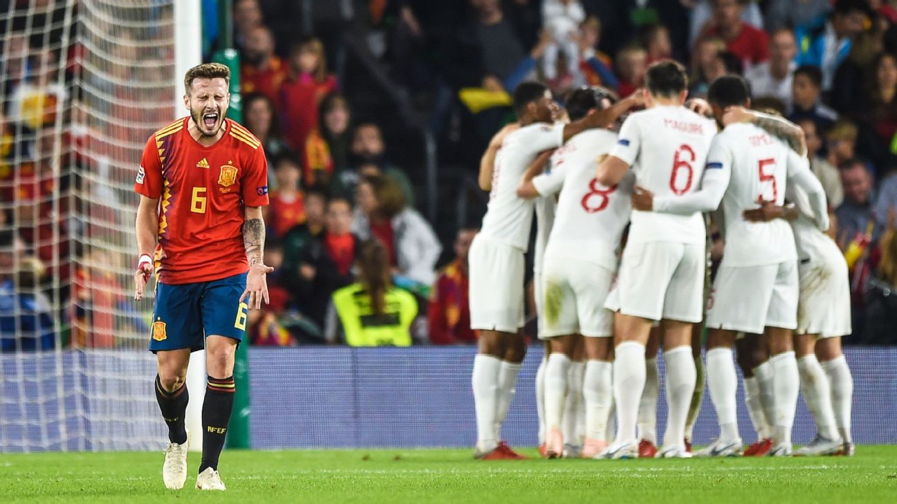 OCTOBER 15: Saul Niguez of Spain reacts after England scored their 3rd goal during the UEFA Nations League A group four match between Spain and England at Estadio Benito Villamarin on October 15, 2018 in Seville, Spain.
