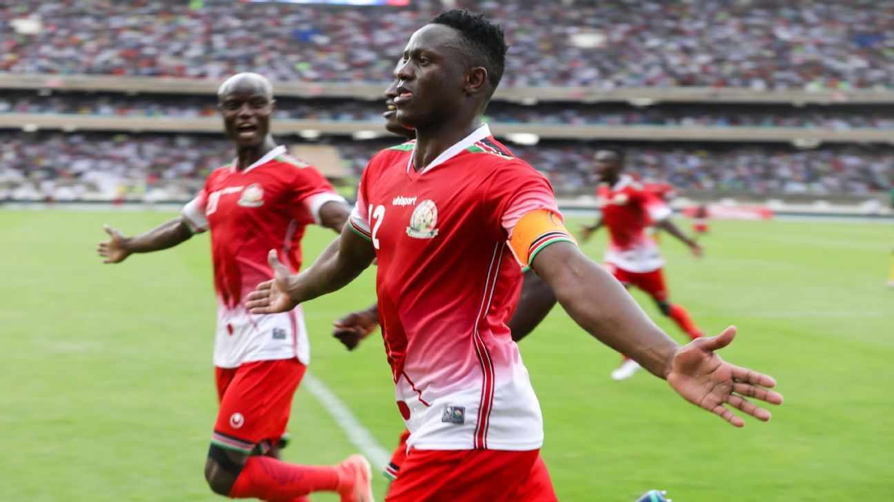 Victor Wanyama celebrates with Kenya