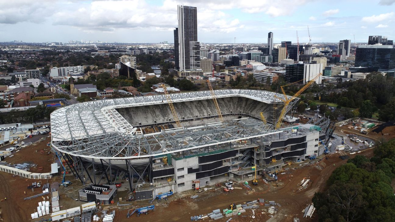 A September 5 aerial view of construction of Western Sydney Stadium in Parramatta.