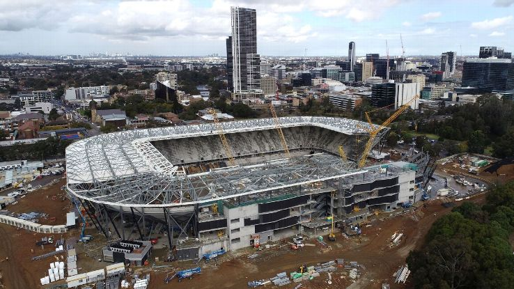A September 5 aerial view of construction of Western Sydney Stadium in Parramatta.