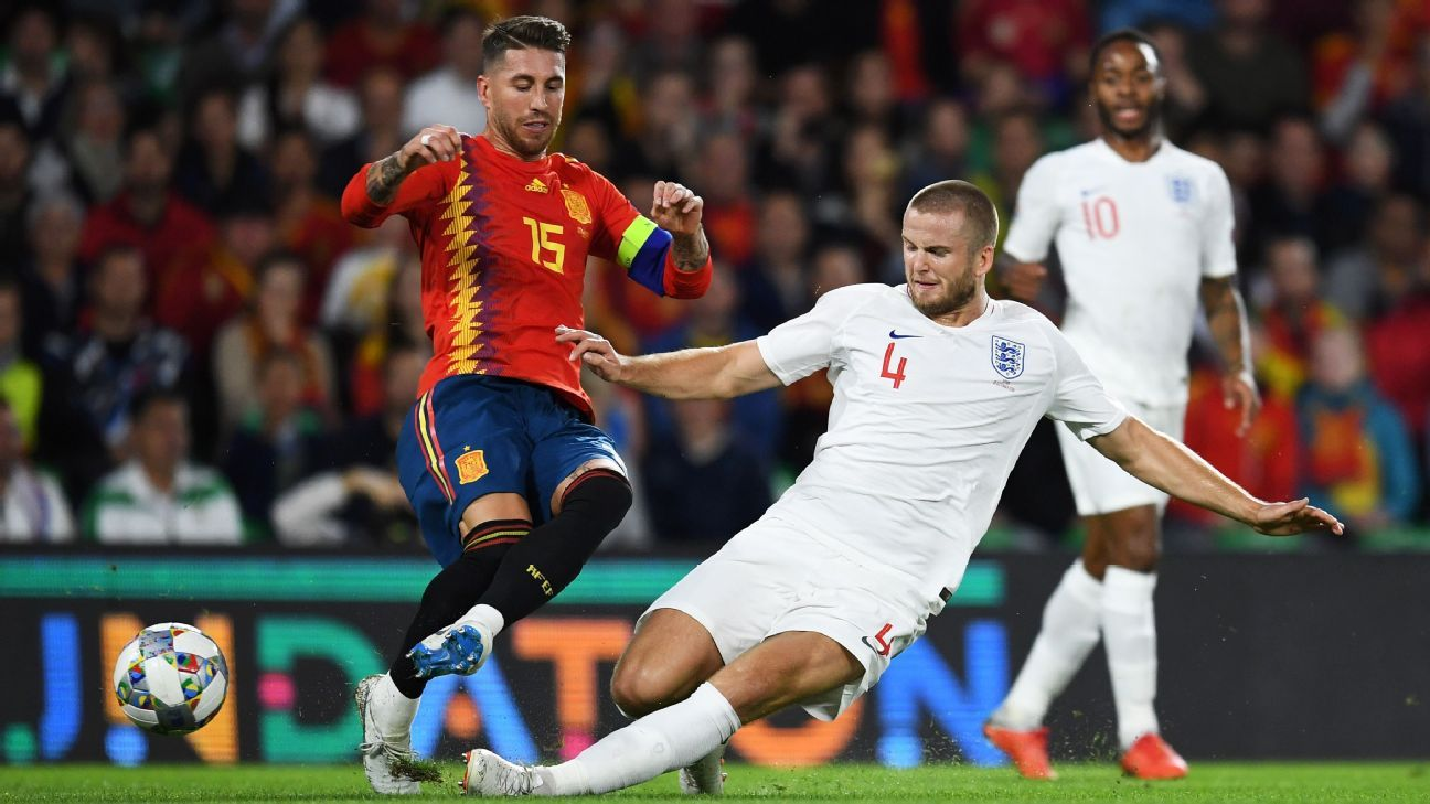 Eric Dier tackles Sergio Ramos during England's victory in Spain
