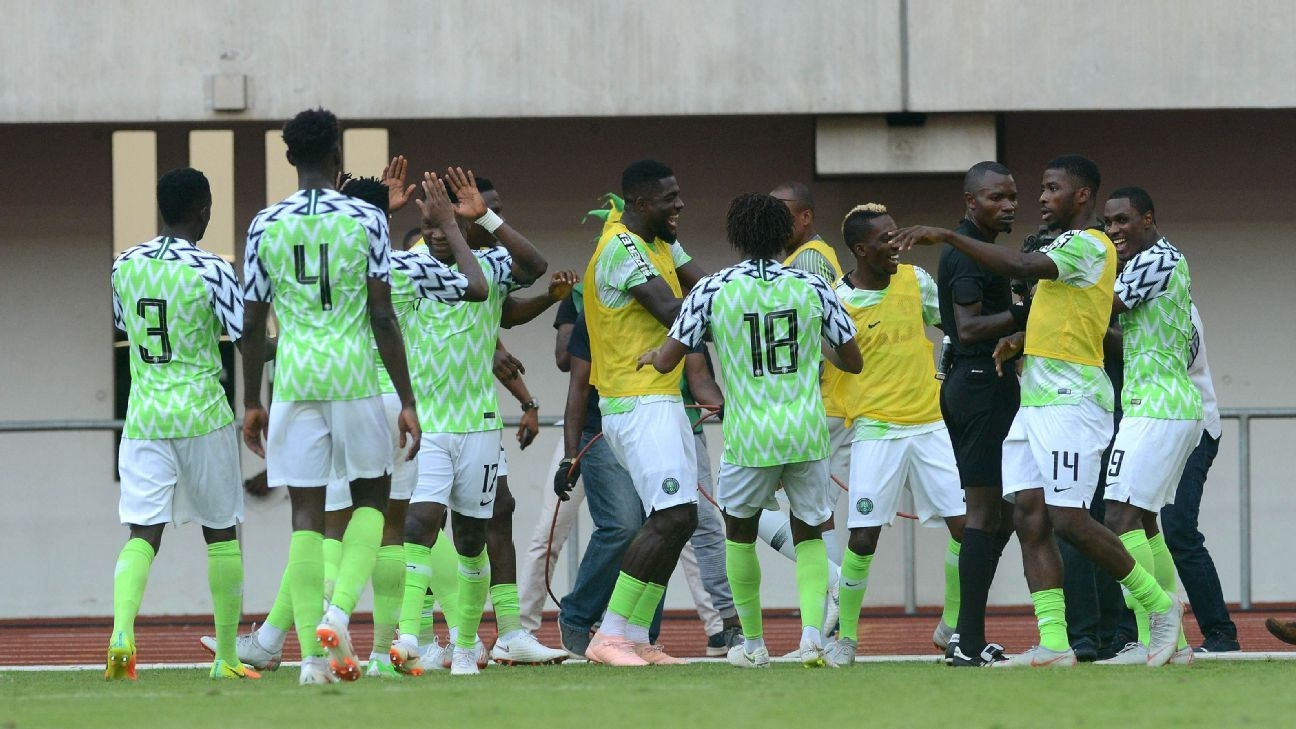 Nigeria celebrate victory against Libya