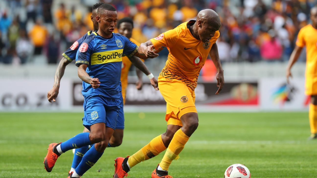Lebogang Manyama of Kaizer Chiefs evades a challenge from Surprise Ralani of Cape Town City.