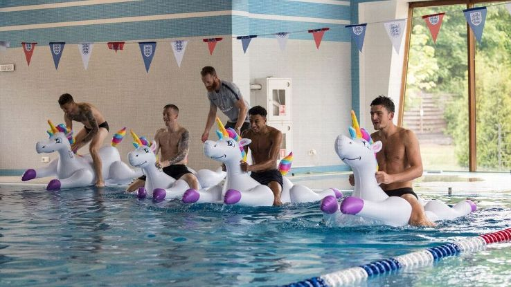 England's Kieran Trippier, Jordan Pickford, Jesse Lingard and Harry Maguire had fun at their World Cup camp