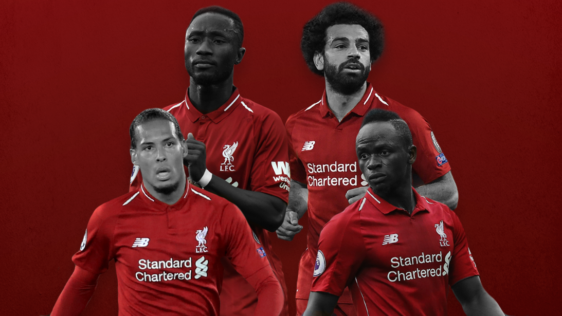 Liverpool's Naby Keita, Sadio Mane, Mohamed Salah and Virgil van Dijk