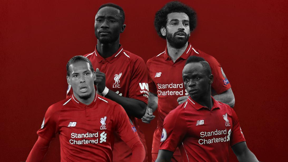 Liverpool's Naby Keita, Sadio Mane, Mohamed Salah and Virgil van Dijk