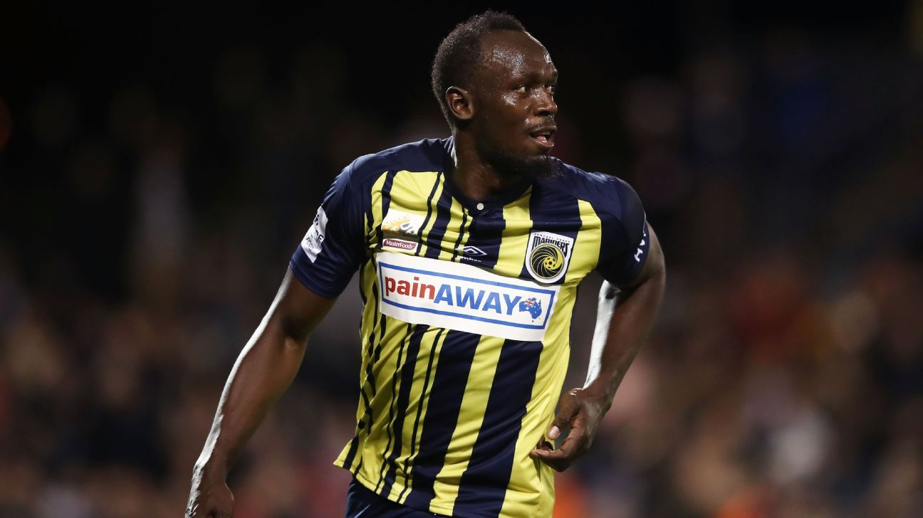 Usain Bolt in action for Central Coast Mariners
