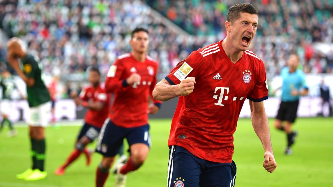 Robert Lewandowski of Bayern Munich celebrates after scoring his team's first goal.