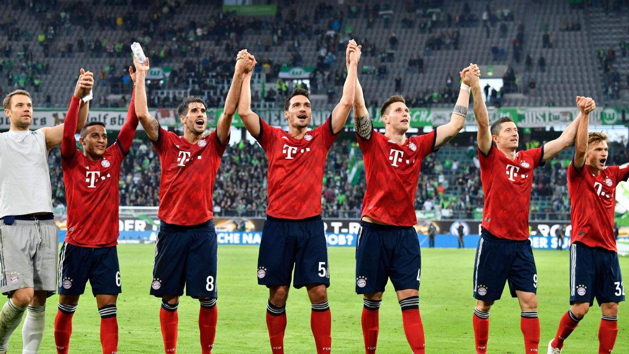 Bayern Munich's players were all smiles following Saturday's 3-1 comfortable win against Wolfsburg.