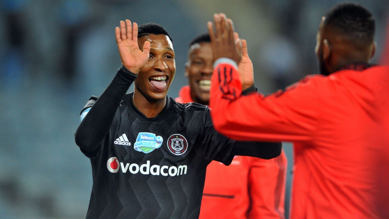 Vincent Pule of Orlando Pirates celebrates a goal with teammates