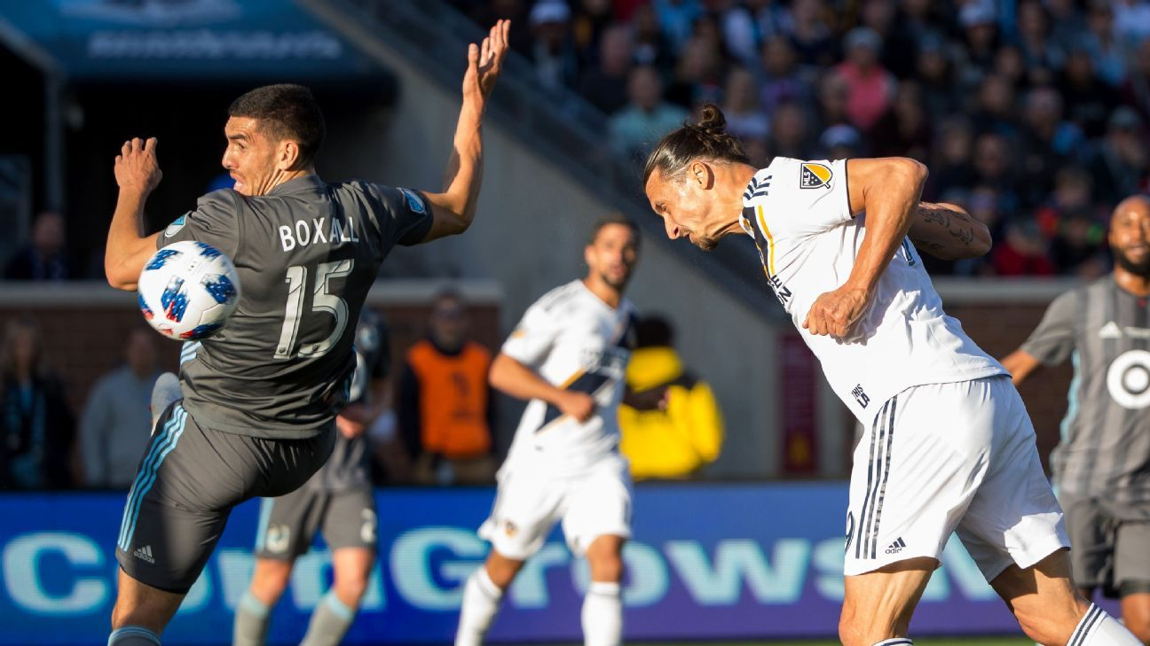 Zlatan Ibrahimovic scores a goal for the LA Galaxy in their match against Minnesota United.