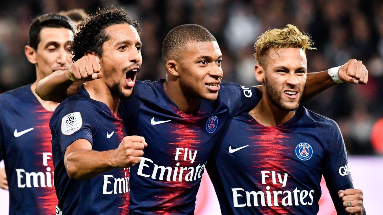 Marquinhos, Kylian Mbappe and Neymar