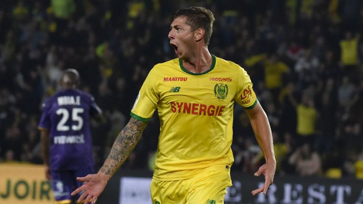 Emiliano Sala celebrates after scoring in Nantes' Ligue 1 win over Toulouse.