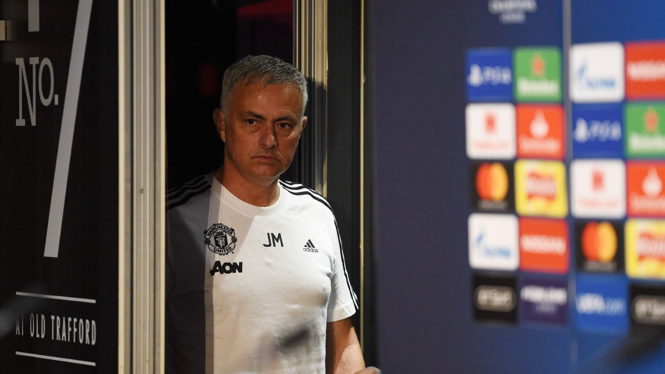 Jose Mourinho walks into his prematch news conference on Monday.