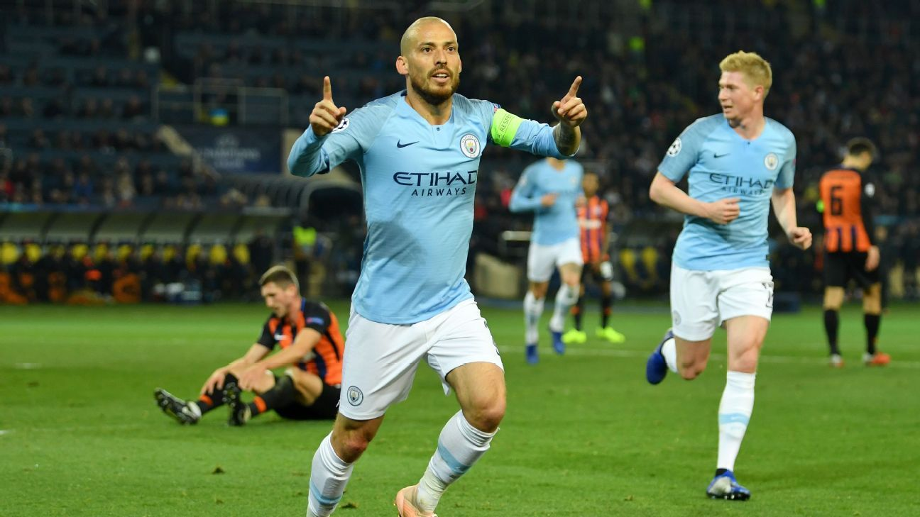 David Silva of Manchester City celebrates after scoring his team's first goal