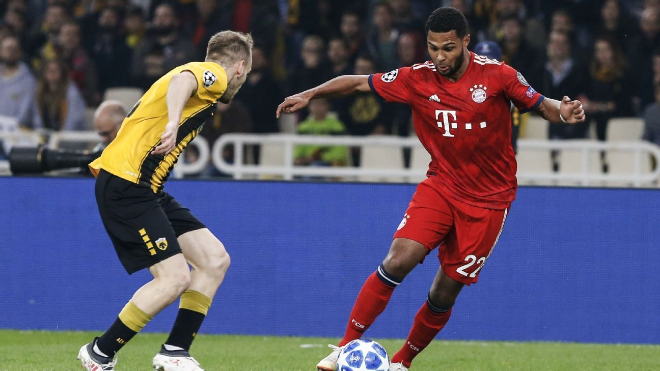Serge Gnabry vies for the ball during Bayern Munich's Champions League win over AEK Athens.