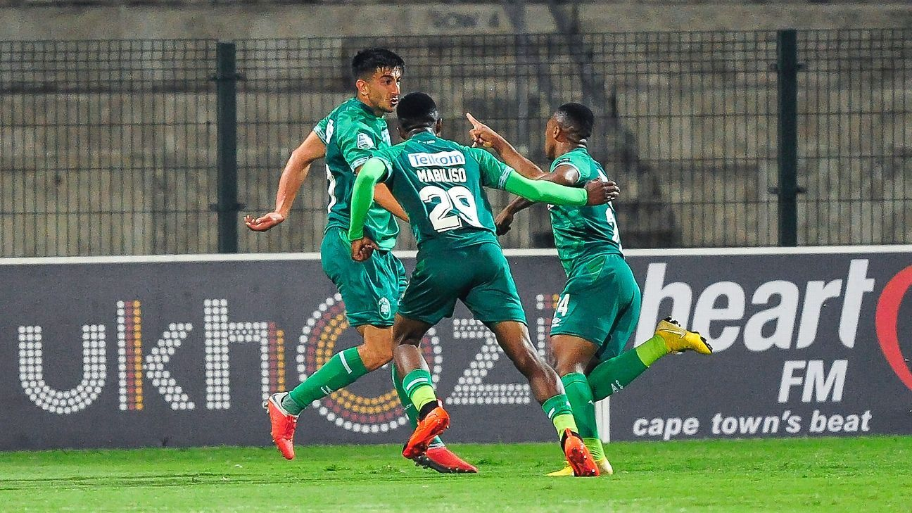Emiliano Tade celebrates a goal with his AmaZulu teammates