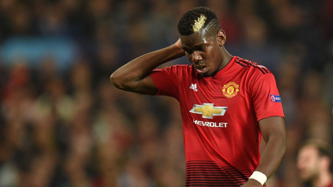 Paul Pogba reacts during Manchester United's Champions League defeat to Juventus.