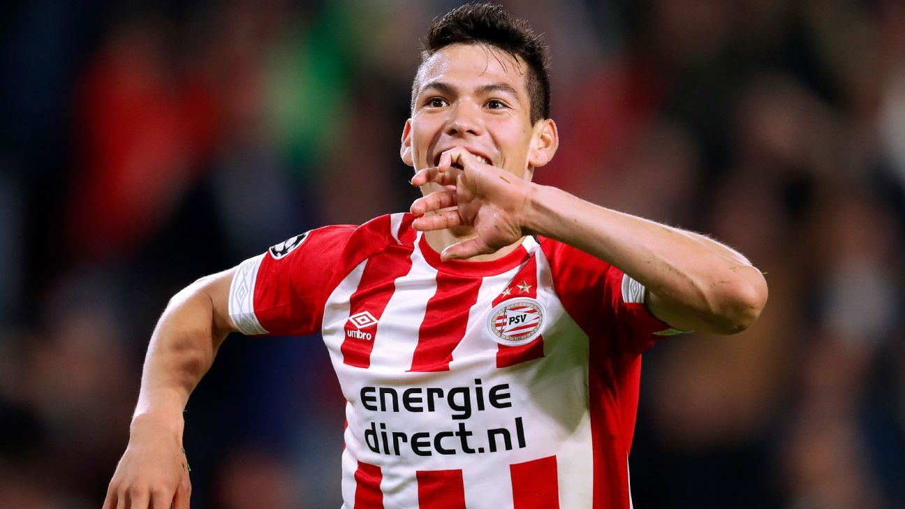 Hirving Lozano of PSV celebrates after scoring against Tottenham.