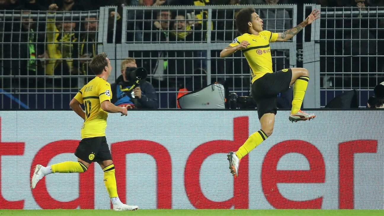 Axel Witsel of Borussia Dortmund celebrates after scoring against Atletico Madrid.