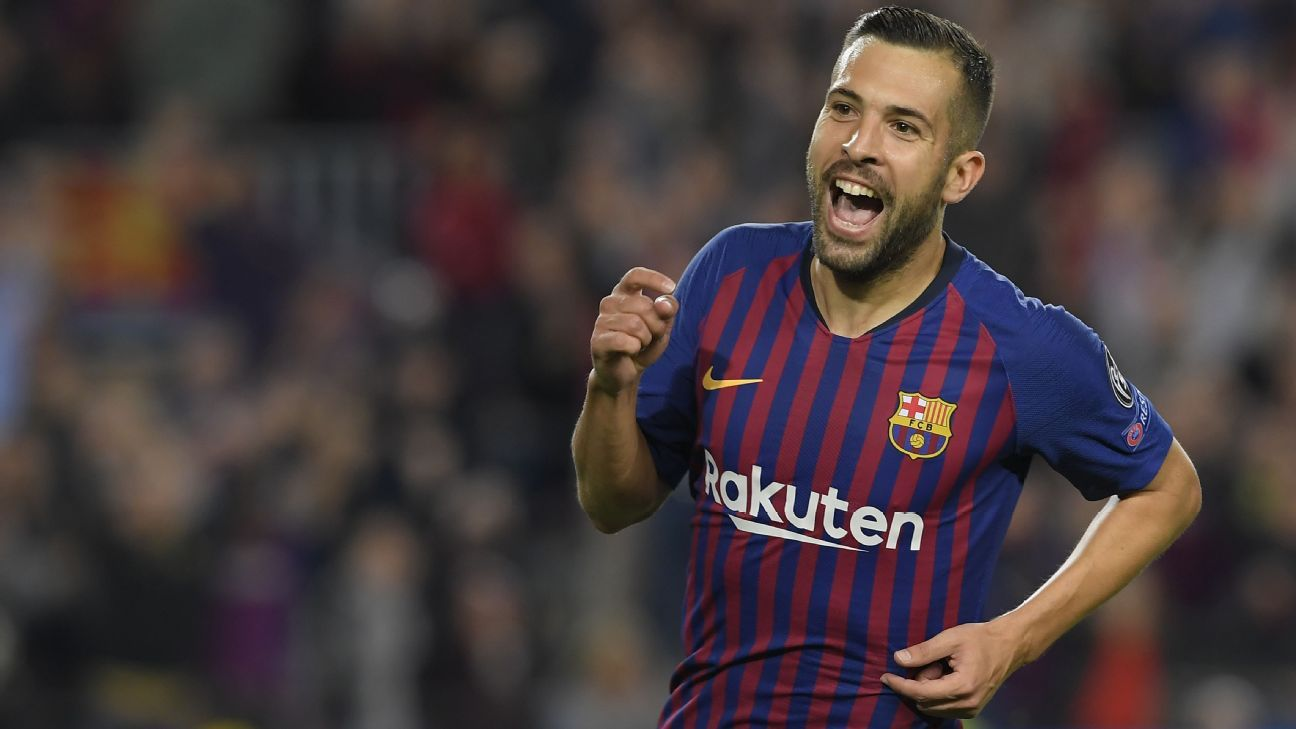 Jordi Alba celebrates after scoring against Inter.