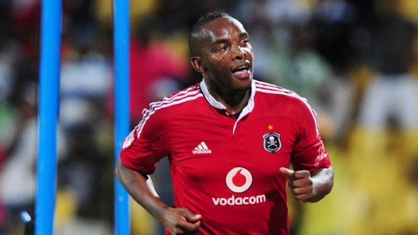 Benni McCarthy celebrates scoring for Orlando Pirates