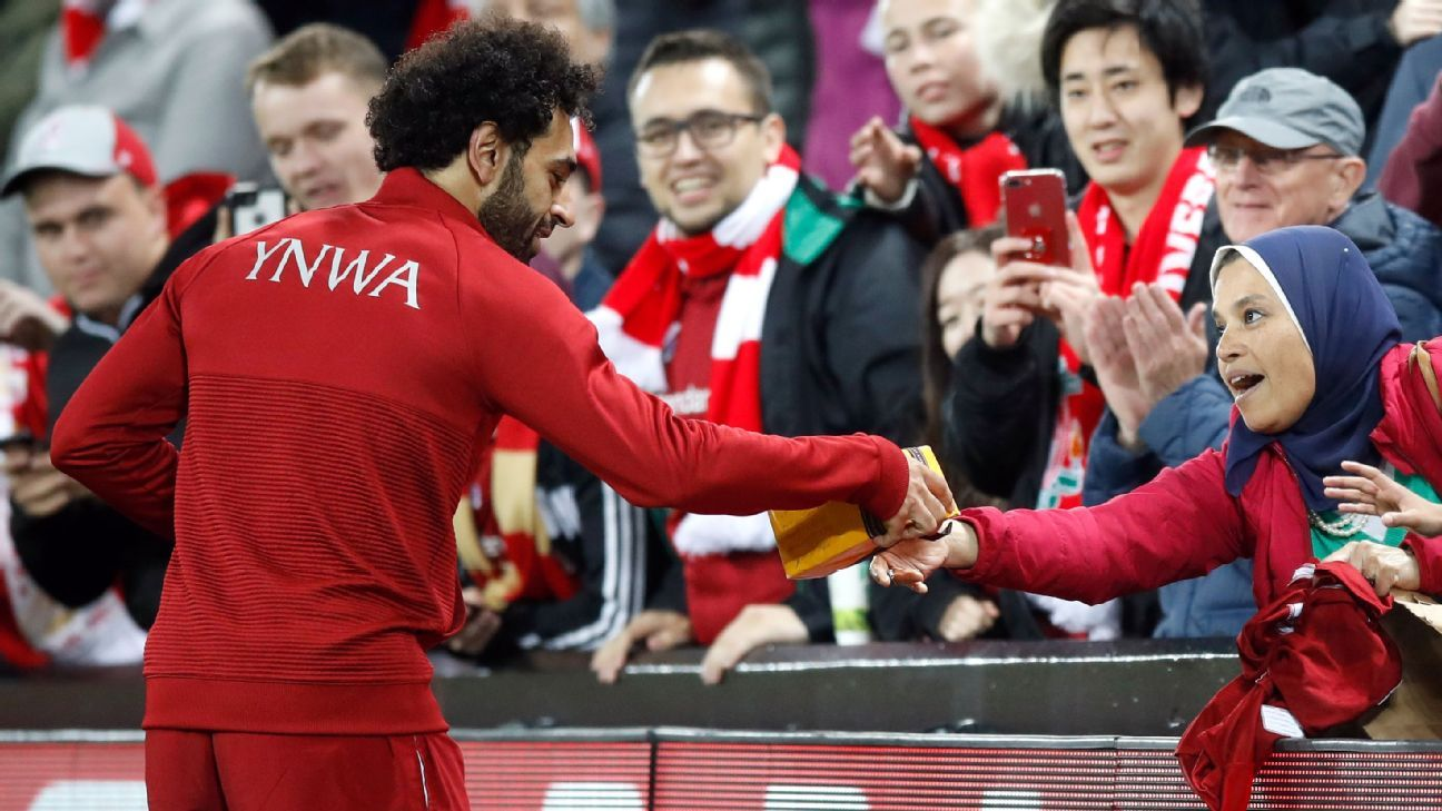 Mohamed Salah received a present from a fan after Liverpool's win over Red Star Belgrade