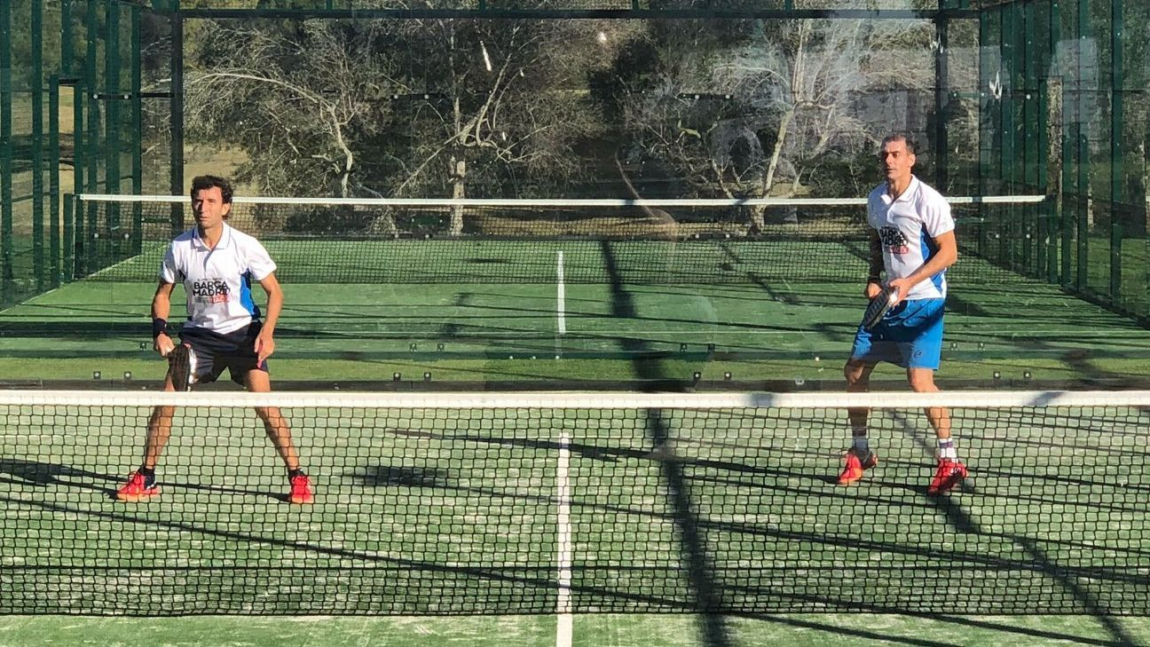 The competition on the golf course was sedate compared things on the padel court: padel is a racket sport combining badminton, tennis and squash.