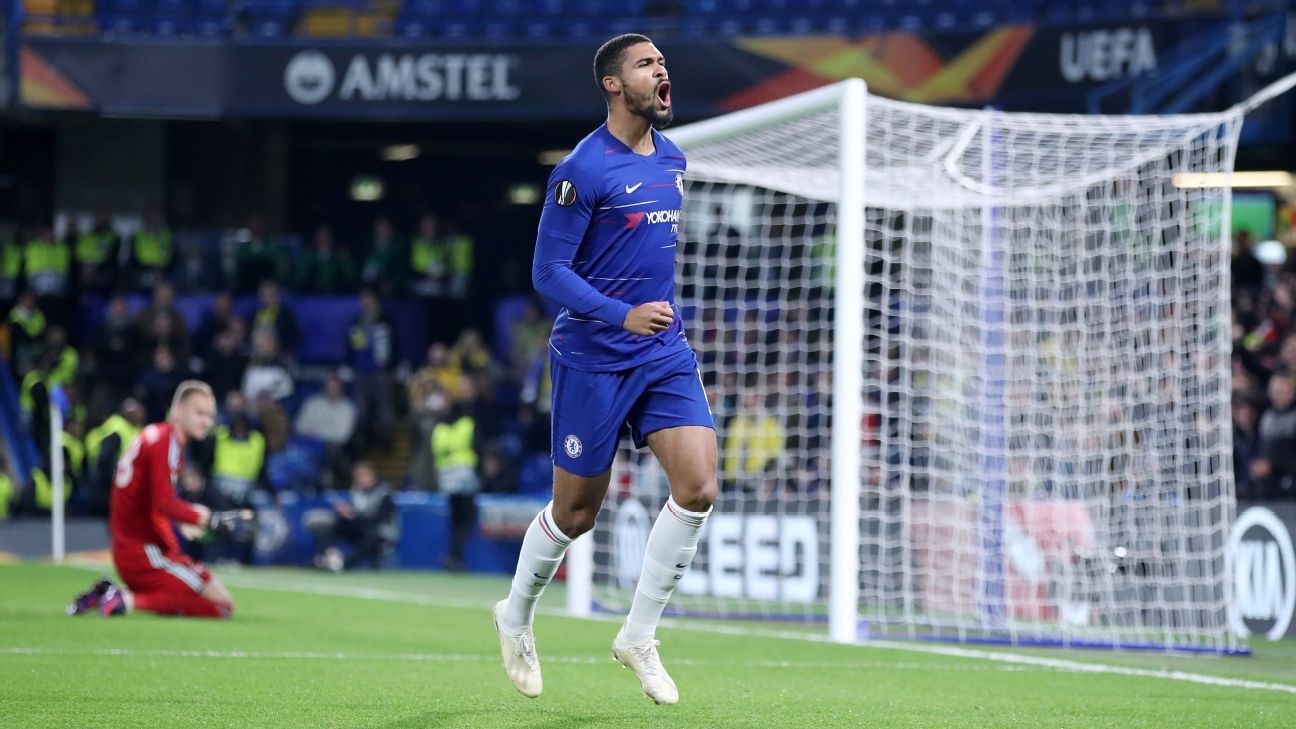 Ruben Loftus-Cheek celebrates after scoring one of this three goals on the night in Chelsea's Europa League win against BATE.