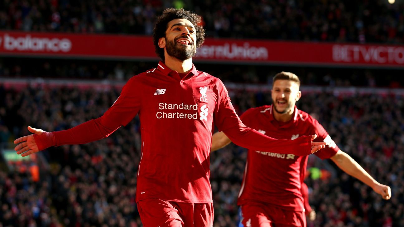 Mohamed Salah celebrates after scoring for Liverpool in their Premier League game vs. Cardiff.