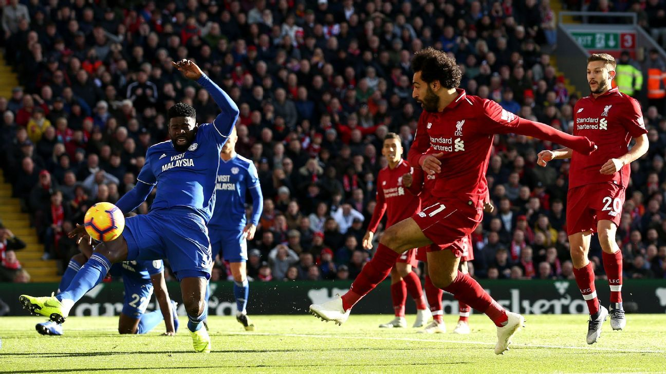 Mohamed Salah scores against Cardiff to give Liverpool the lead.