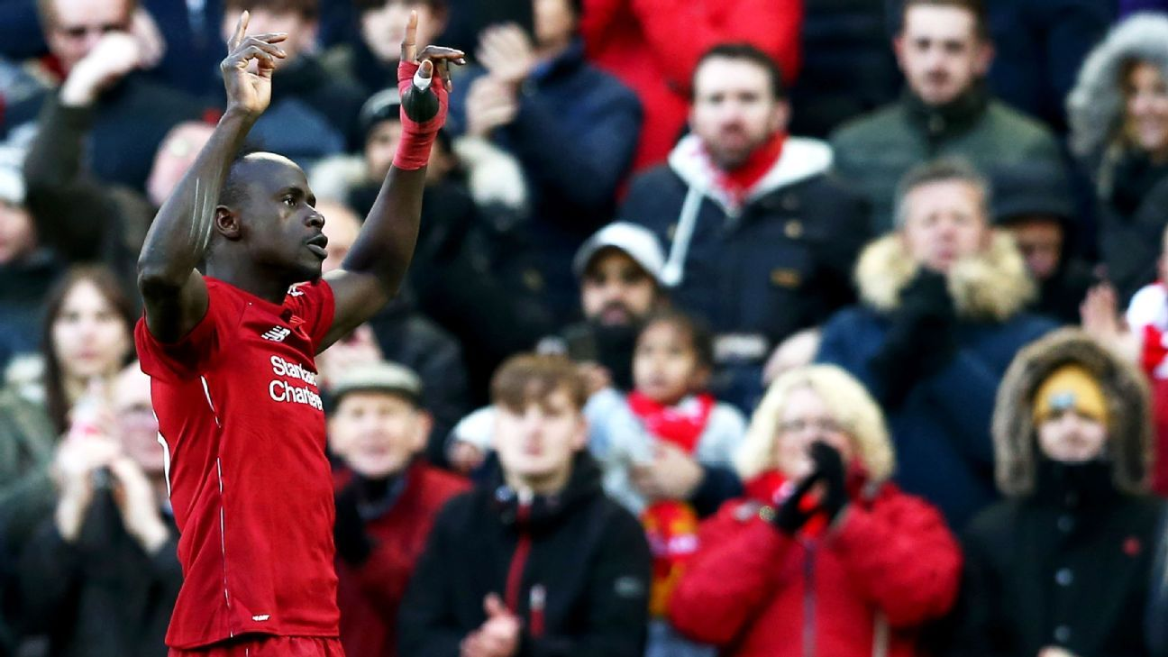 Sadio Mane was also on target for Liverpool as the Reds went top.