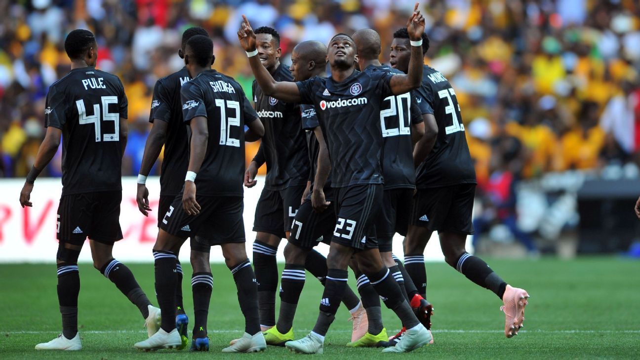 Orlando Pirates players celebrate a goal