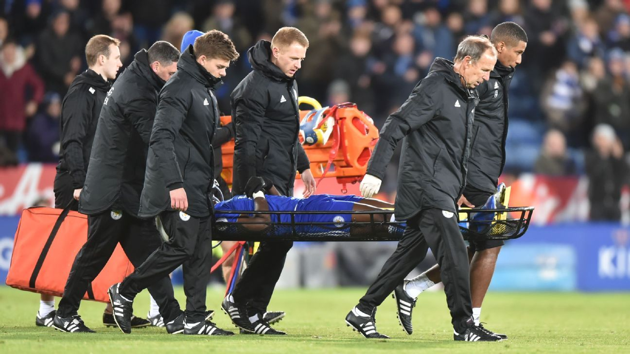 Daniel Amartey of Leicester City is stretchered off after breaking his ankle against West Ham.