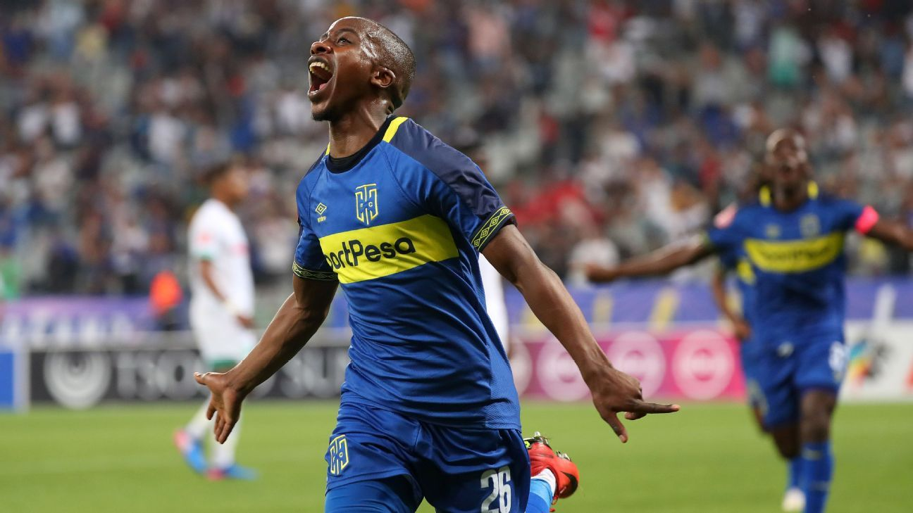 Thabo Nodada of Cape Town City celebrates a goal