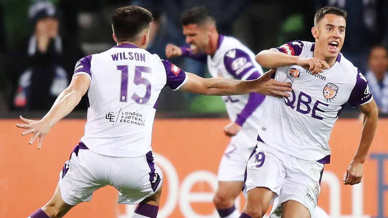 Chris Ikonomidis of Perth Glory celebrates a goal during the round two A-League match against Melbourne Victory.
