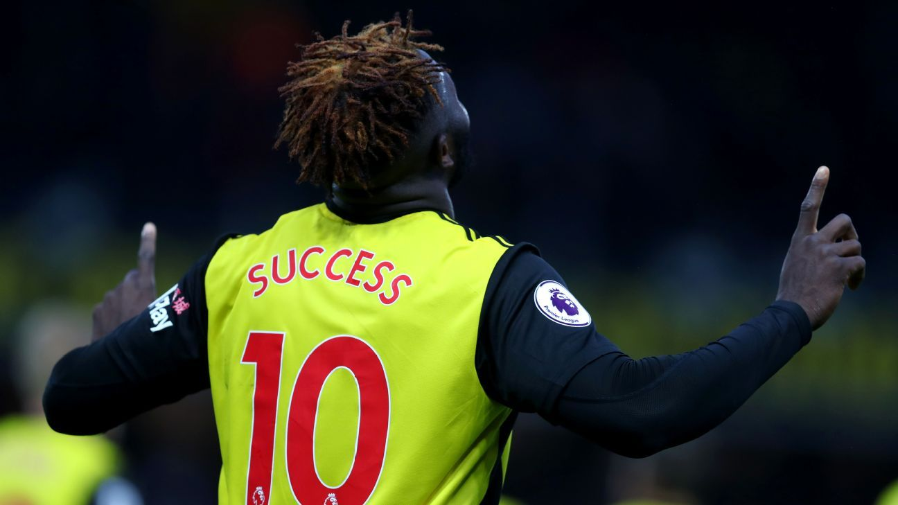 Isaac Success of Watford after netting in the Premier League