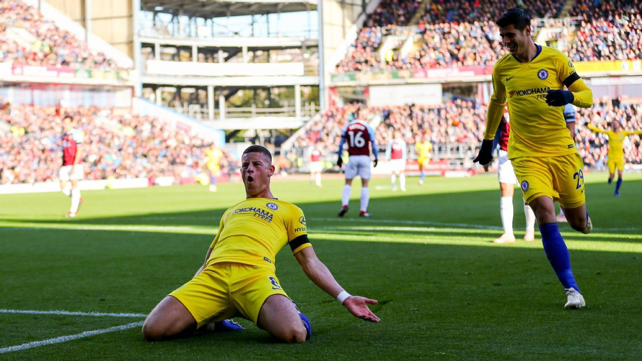 Ross Barkley celebrates a goal during Chelsea's Premier League win against Burnley.