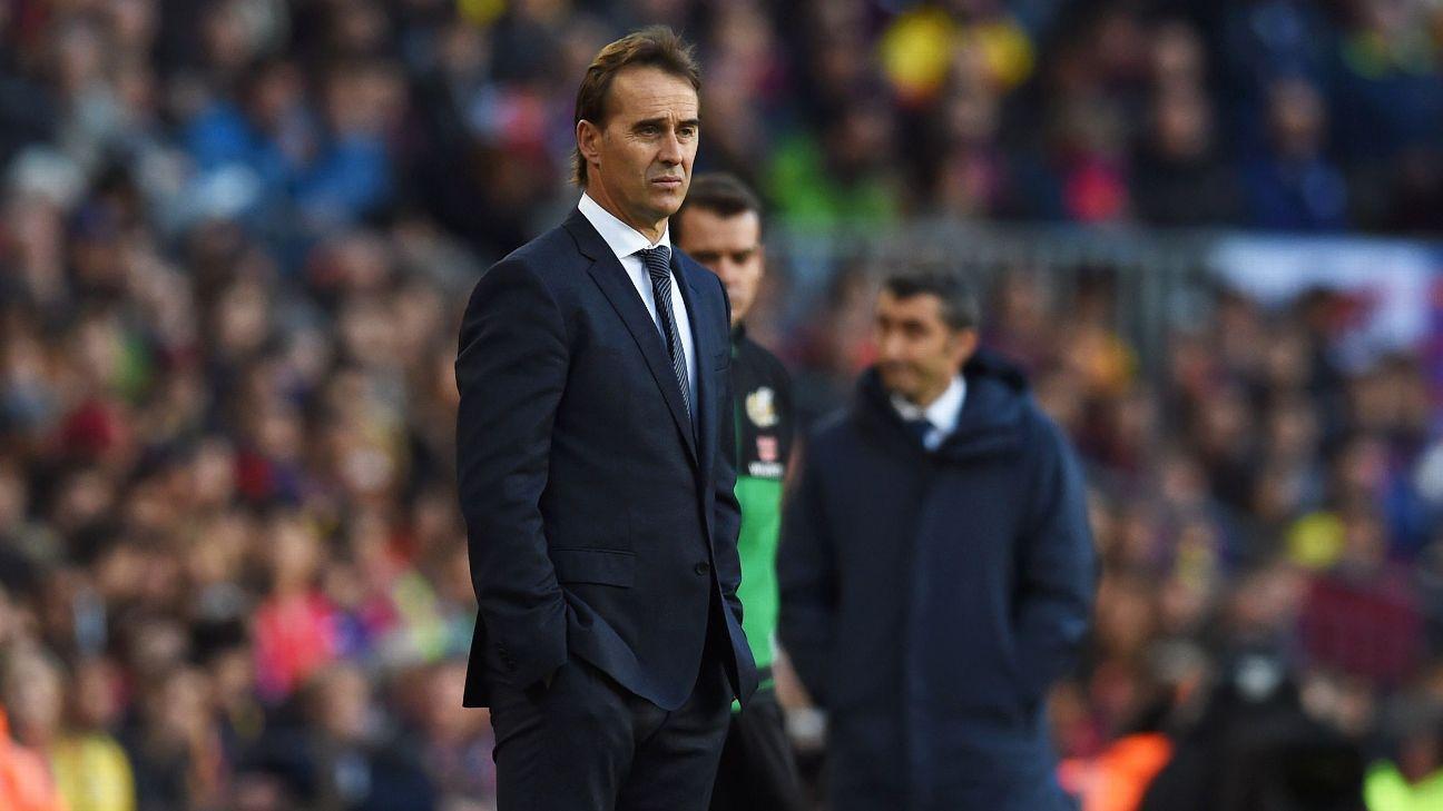 Julen Lopetegui looks on during Real Madrid's game against Barcelona.