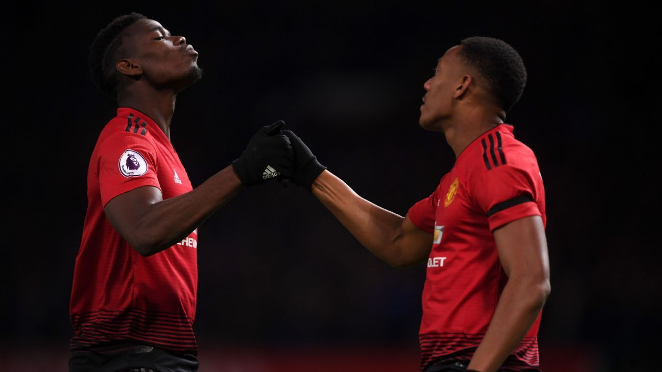 Paul Pogba and Anthony Martial played key roles in Manchester United's win over Everton.