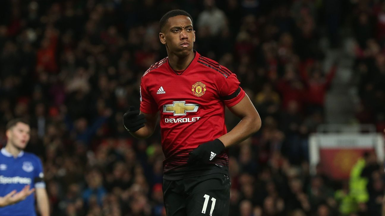 Anthony Martial scored Manchester United's second goal in the Premier League game against Everton at Old Trafford.