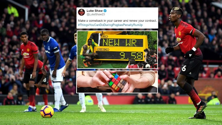 Paul Pogba's run-up for his penalty against Everton prompted some online goading from Luke Shaw