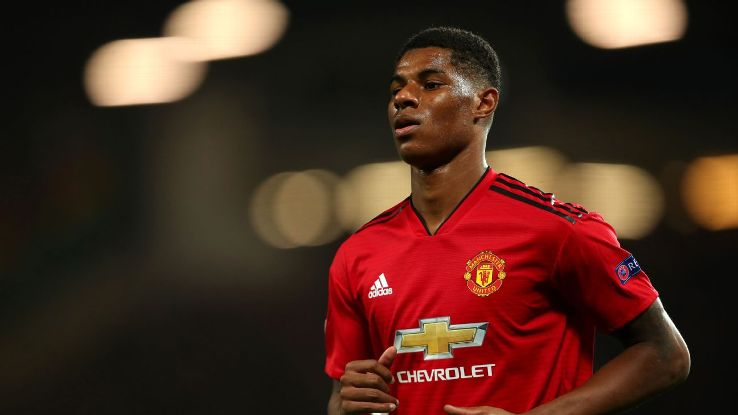 Marcus Rashford has scored four goals in eight games for England in 2018 but just one in 10 games this season for Man United.
