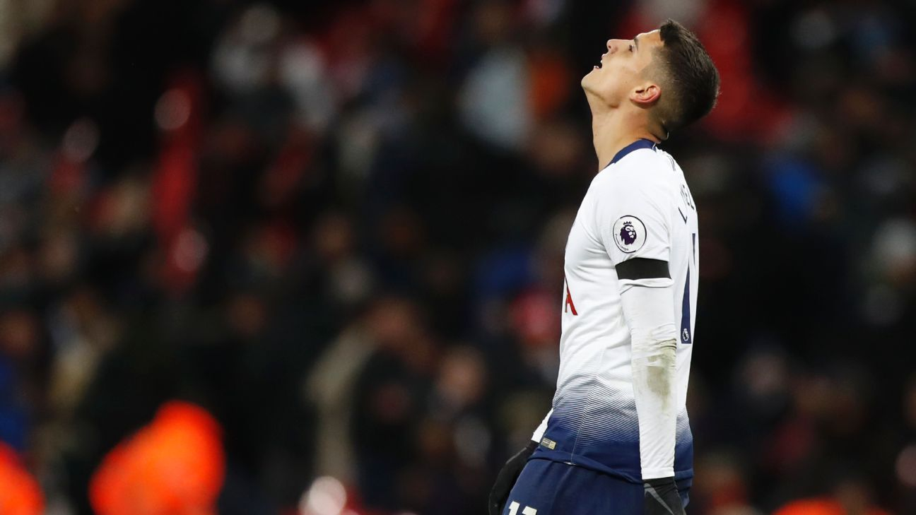 Erik Lamela missed an opportunity late to bring Tottenham level in their 1-0 loss to Manchester City on Monday.