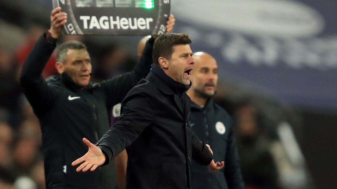 Mauricio Pochettino cut a frustrated figure on the touchline during Tottenham's 1-0 loss to Manchester City.