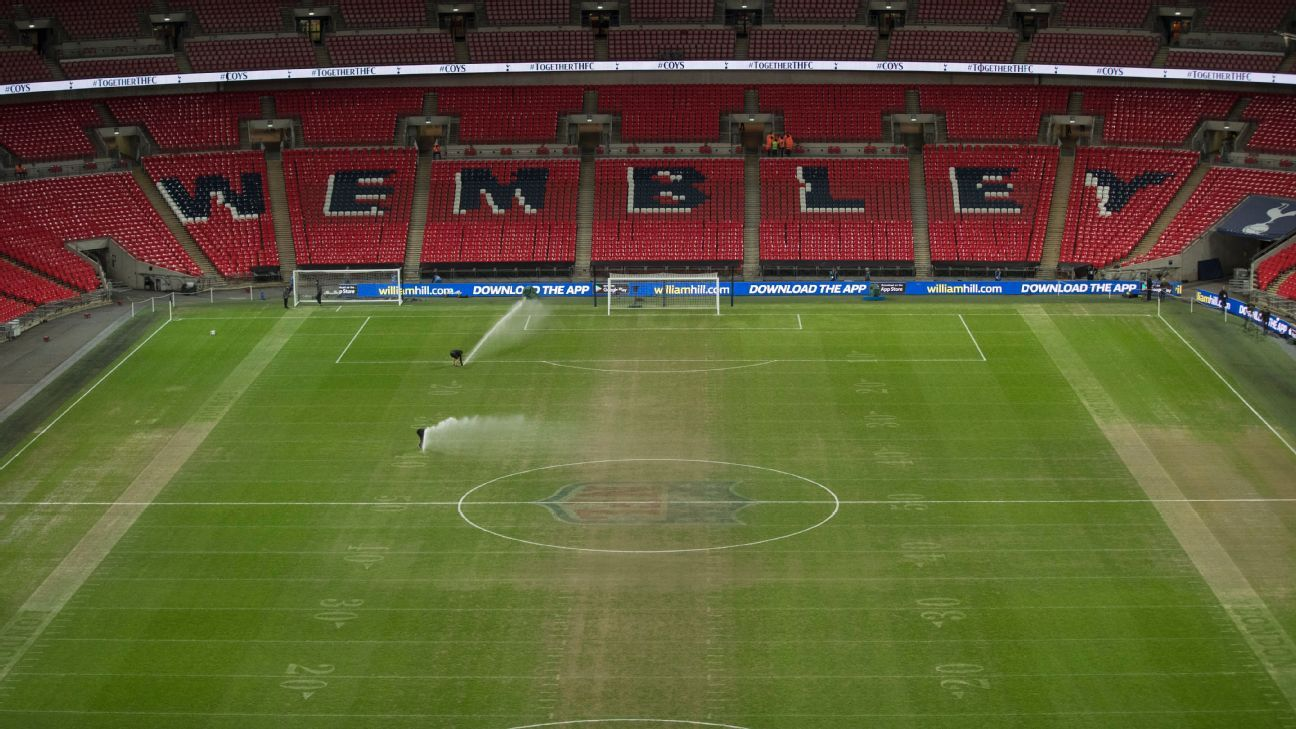 Tottenham's match against Manchester City at Wembley was played the day after a NFL game on the same surface