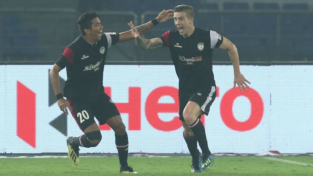 The NorthEast United attack has benefited greatly from the understanding Federico Gallego (right) has developed with Bart Ogbeche and Rowllin Borges.