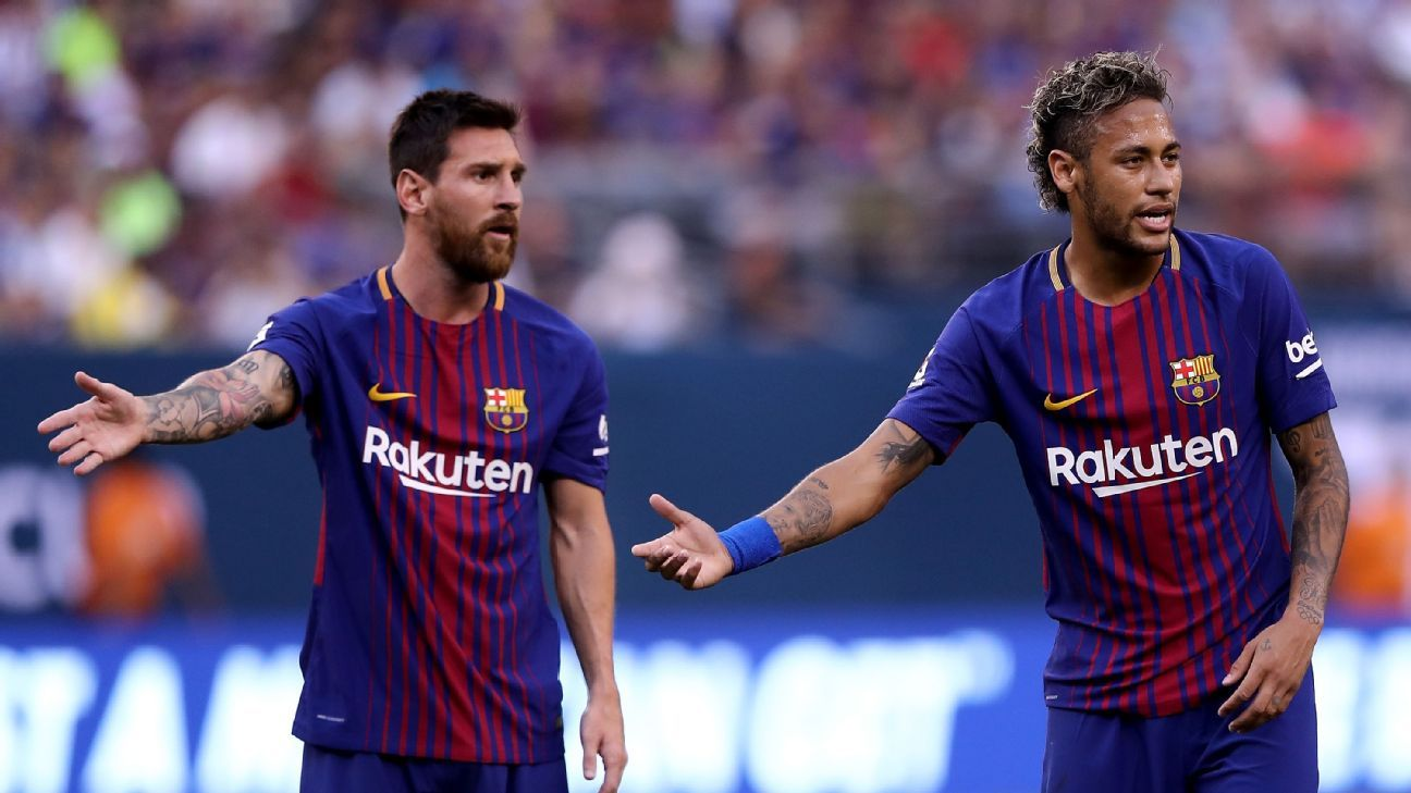 Lionel Messi and Neymar during their time together at Barcelona.