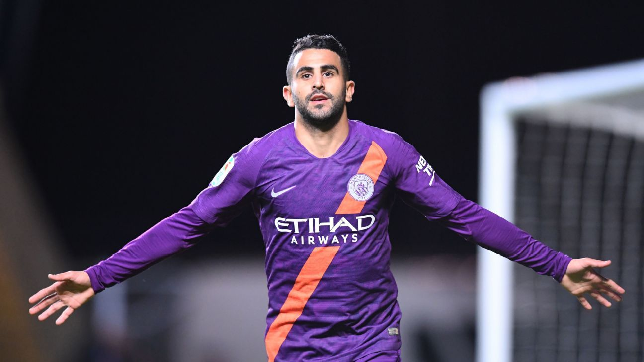 Riyad Mahrez celebrates after scoring in Manchester City's Carabao Cup win over Oxford United.
